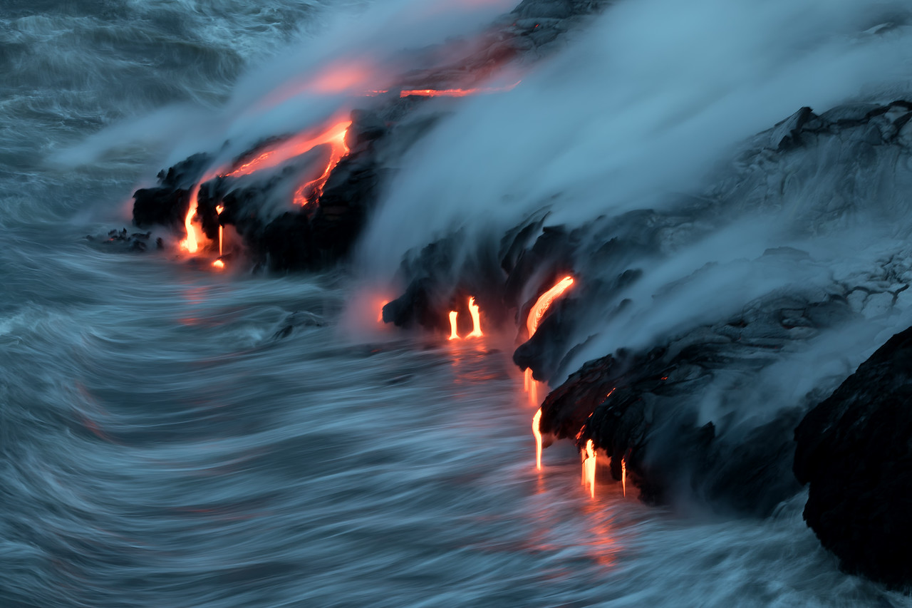 """""""Force And Fire""""<br /> (Kamokuna ocean entry, Hawaii Volcanoes National Park 08/21/2016)"""