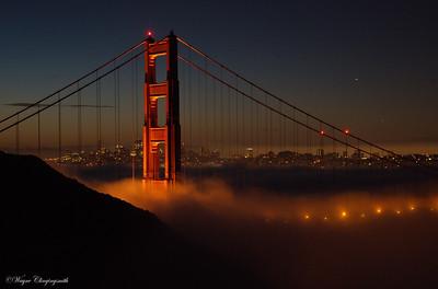 San Francisco 10/6/2012 - Fleet week Golden Gate Bridge before sunrise