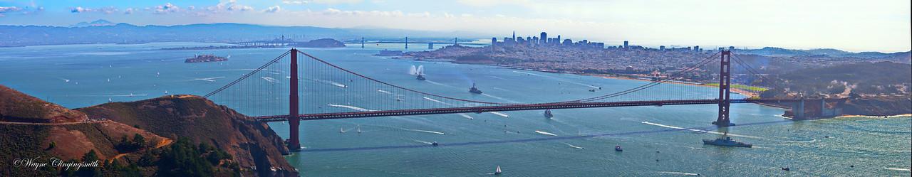 "San Francisco 10/6/2012 - Fleet week -The Parade of Ships  San Francisco Fire Dept.'s Fireboat ""Phoenix"" USS PREBLE DDG 88 Guided Missile Destroyer USS SPRUANCE DDG 111 Guided Missile Destroyer Coast Guard's USCGC Sherman Canada's HMCS Algonquin"
