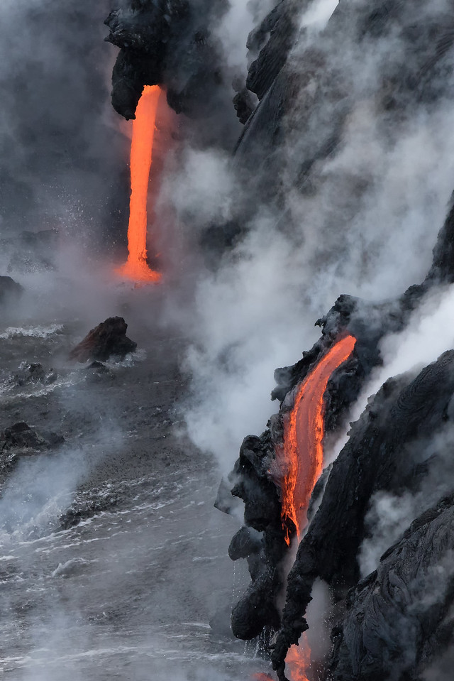 """Firefall""<br /> (Kamokuna ocean entry, Hawaii Volcanoes National Park 08/21/2016)"
