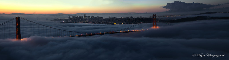 San Francisco Sunrise 1 10/6/2012 - Fleet Week       View at full X3 size to get the detail  I really lucked out this morning with some 6-7am shots. This is just one of the many shots I got. Not only was the sunrise fantastic, I also did a descent job doing my first at low light of the Golden Gate Bridge without too much noise in many of the shots.