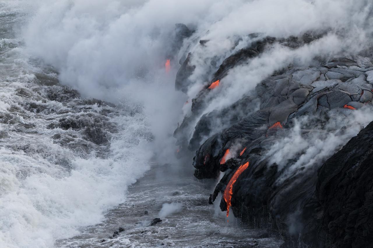 """Worlds Collide""<br /> (Kamokuna ocean entry, Hawaii Volcanoes National Park 08/21/2016)"