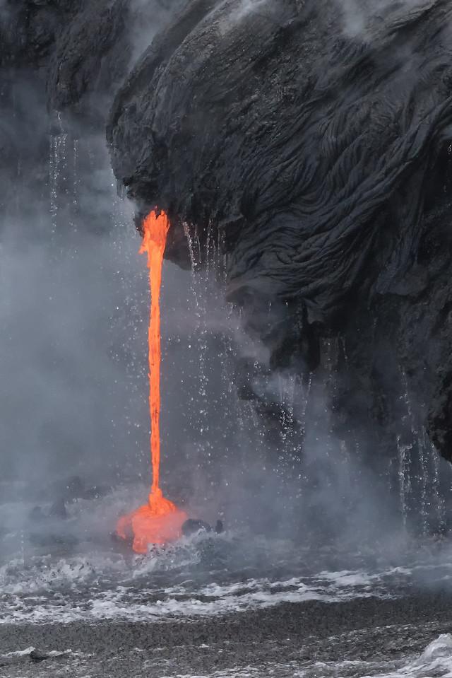 """Fire And Rain""<br /> (Kamokuna ocean entry, Hawaii Volcanoes National Park 08/21/2016)"