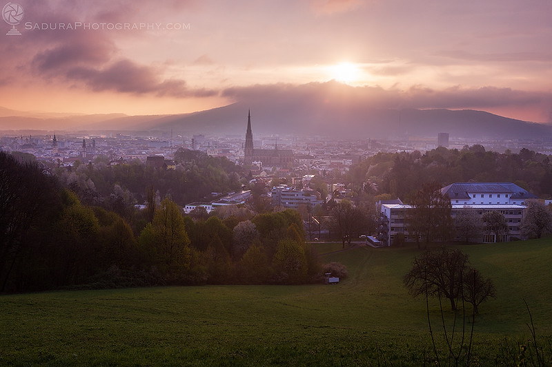 Linz panorama at sunrise