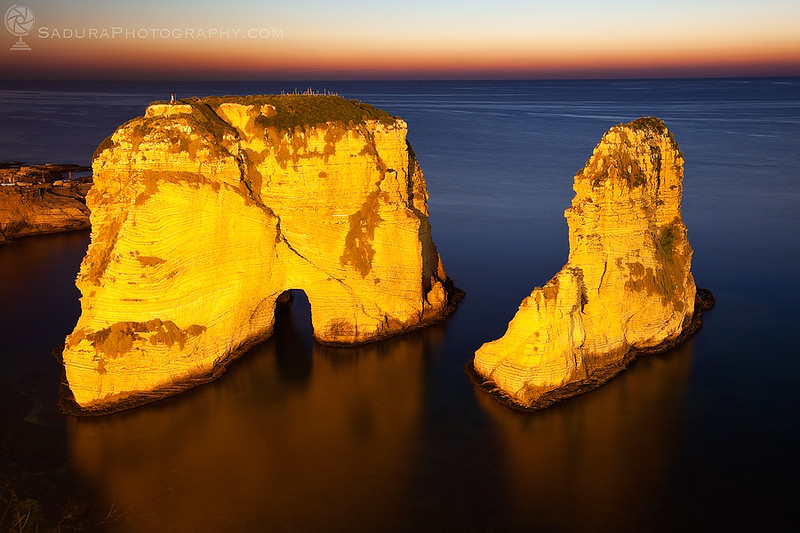 Pigeon Rocks in Beirut at sunset
