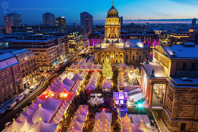 Christmas on Gendarmenmarkt in Berlin at night