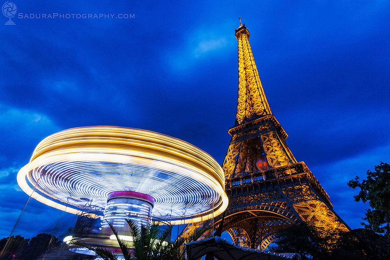 Eiffel Tower and carousel in Paris