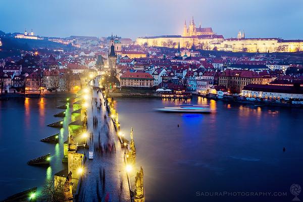 Charles Bridge and Hradčany in Prague