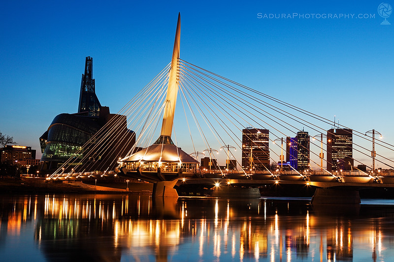 Canadian Museum for Human Rights and Esplanade Riel bridge in Winnipeg