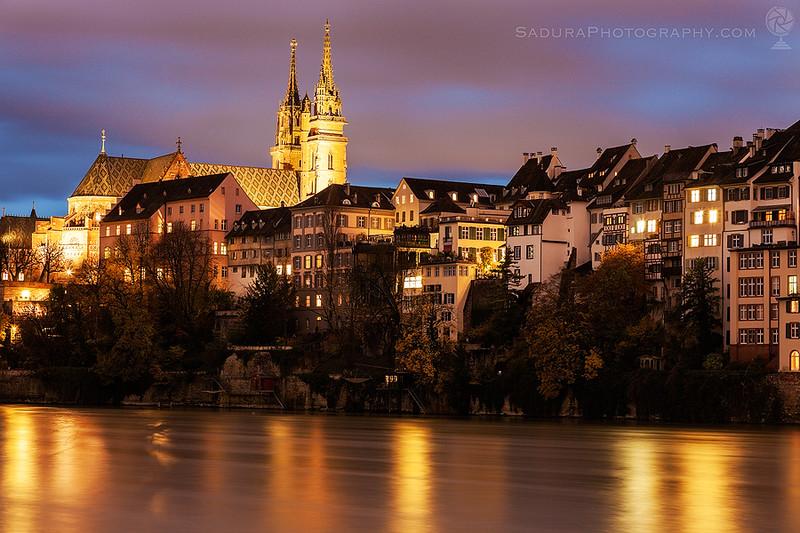 Basel Minster and Rhine River