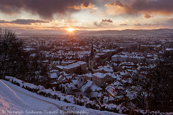 Winter Sunset in Ljubljana