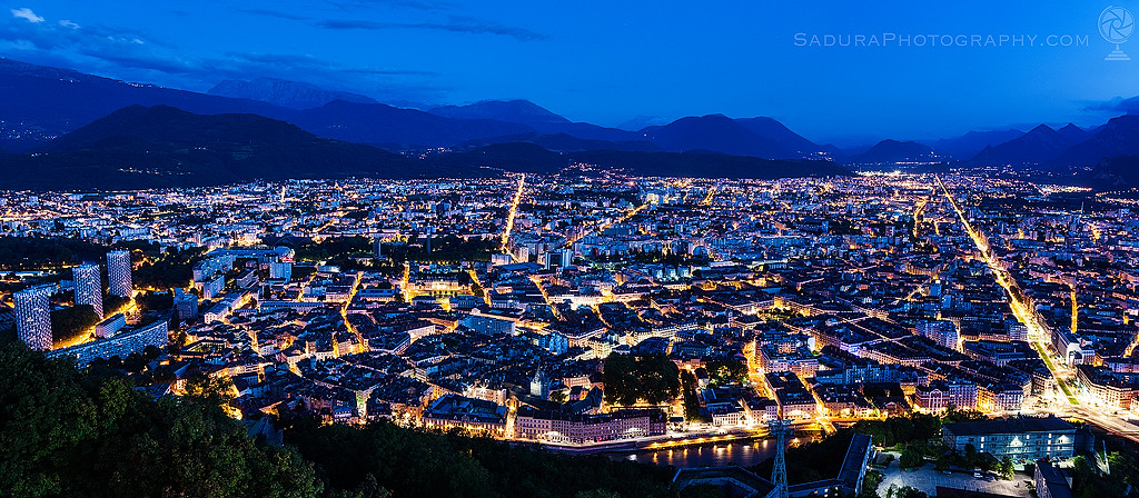 Grenoble panorama at night