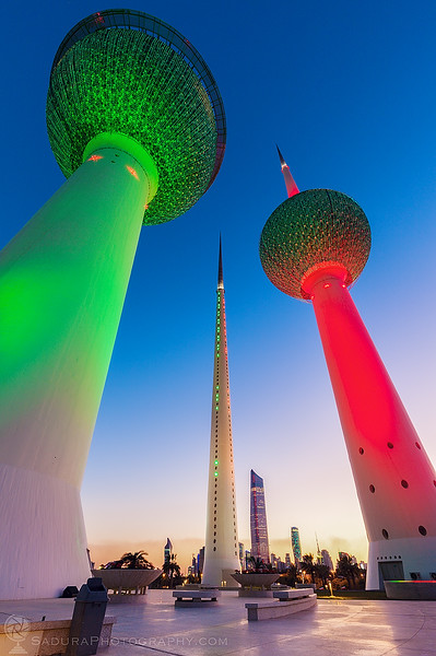 Kuwait Towers at evening