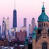 Saint Nicholas Ukrainian Catholic Cathedral and downtown Chicago architecture