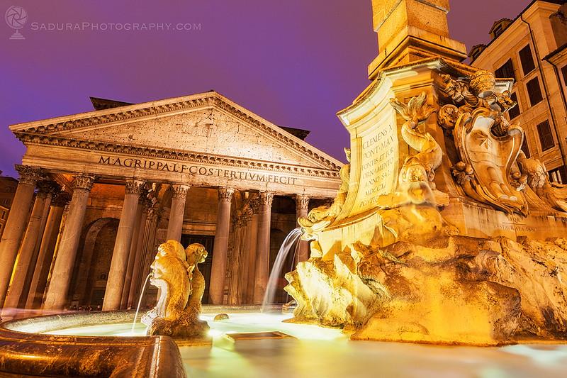 Pantheon and Fontana del Pantheon on Piazza della Rotonda