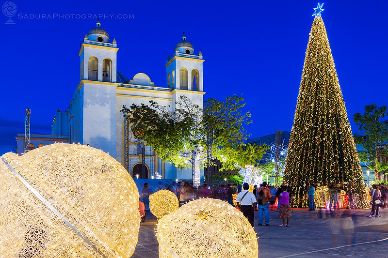 Christmas on Plaza Libertad in San Salvador