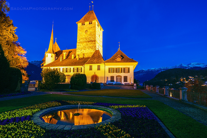 Spiez Castle at night