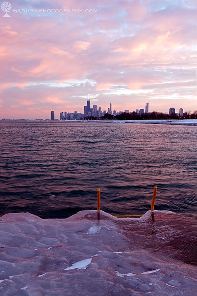 Winter in Chicago - downtown seen from north side at sunset