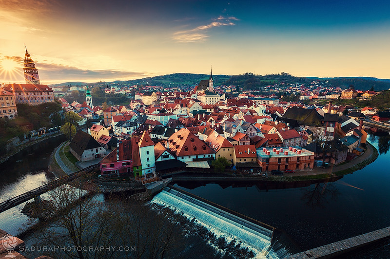 Beautiful Cesky Krumlov at sunrise