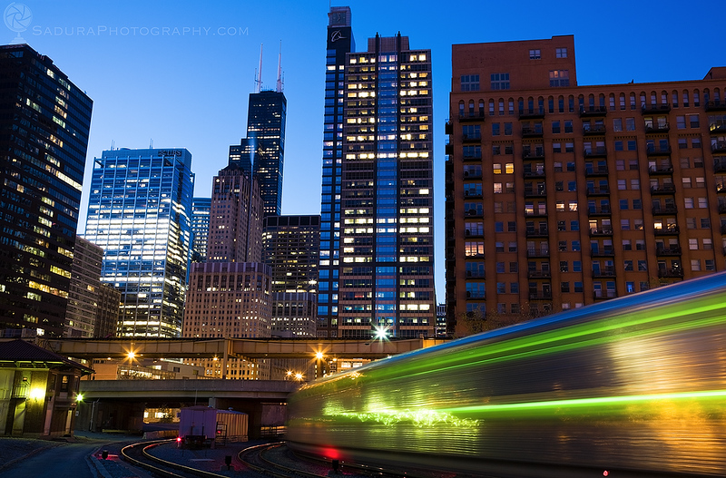 Morning Train to downtown Chicago