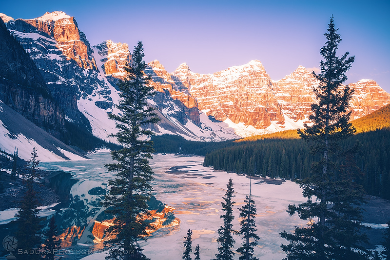 Frozen Moraine Lake in Canada