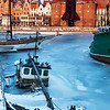 Winter in Gdansk - old boat and the historic crane