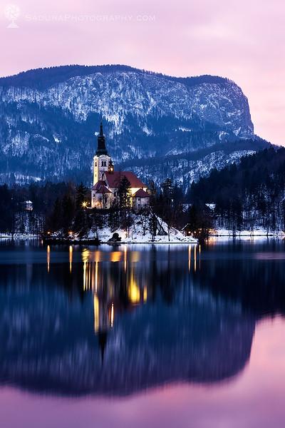 Sunset over Lake Bled. Bled, Slovenia
