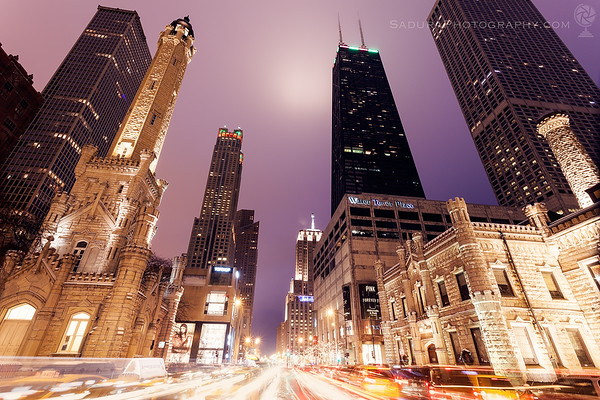 Traffic on Michigan Avenue in Chicago