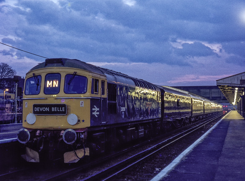 33056 at Woking, with a Paignton - Waterloo VSOE special, on 2nd April 1983. <br /> Scanned Transparency.