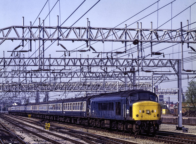 45115 arriving at Crewe with 1G61, the 14:30 Liverpool Lime Street - Birmingham New Street, on 23rd April 1987. Scanned Transparency.