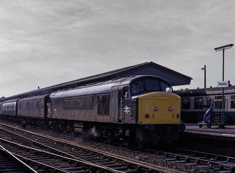 45057 at Reading with a Vans working, on 2nd June 1982. Scanned Transparency.