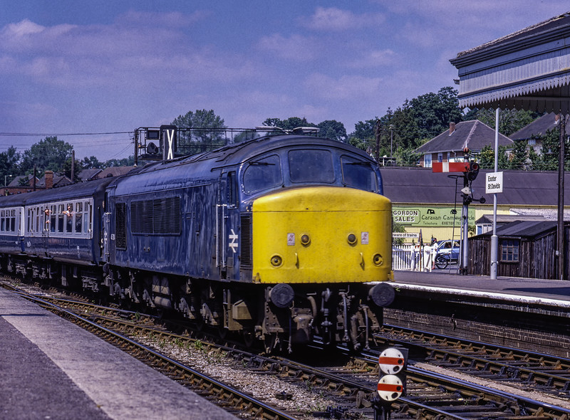 45004 passing through Exeter St Davids with 1V81, the 09:21 Leeds - Penzance, <br /> on 30th June 1984. Scanned Transparency.