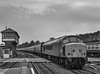 """45017 passes the now redundant Middle Box at Exeter St Davids, with the Bristol - Paignton leg of a Private Charter that had originated in Cambridge, on 22nd June 1985. <br /> The charter was named """"Ciba Geigy"""" (no, me neither) Scanned Negative."""