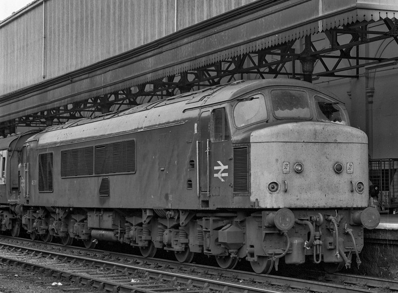 46011 at Exeter St Davids with 1V73, the 09:11 Manchester Piccadilly - Newquay, <br /> on 29th September 1984. Scanned Negative.