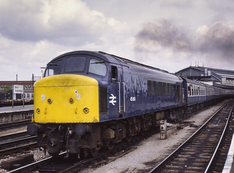 45063 at Bristol Temple Meads with 1V69, the 07:28 Leeds - Newquay, on 23rd July 1983. Scanned Transparency.