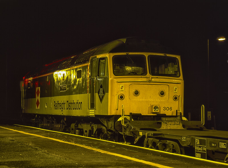 """47306 """"The Sapper"""" making a crew change at Didcot Parkway with a Freightliner, <br /> on 25th July 1994. Scanned Transparency."""