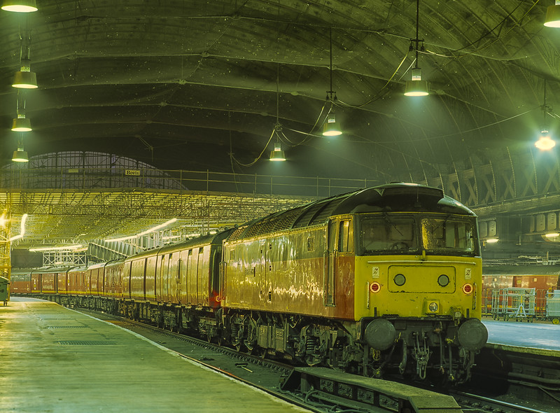 """47474 """"Sir Rowland Hill"""" at Paddington with TPO ECS, on 9th August 1996. <br /> Scanned Transparency."""