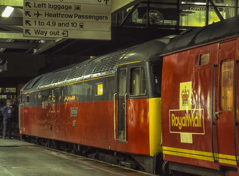 """47634 """"Holbeck"""" at Reading with 1A01, the 22:13 (9th) Plymouth - Paddington TPO, <br /> on 10th August 1996. Scanned Transparency."""