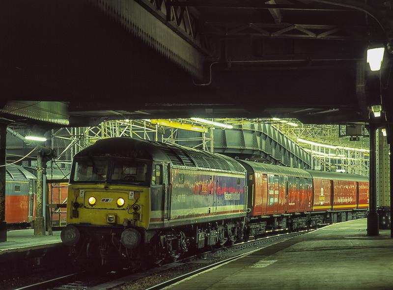 "47715 ""Haymarket"" at Paddington with 1B82, the 23:17 Paddington - Swansea TPO, <br /> on 6th September 1996. Scanned Transparency."