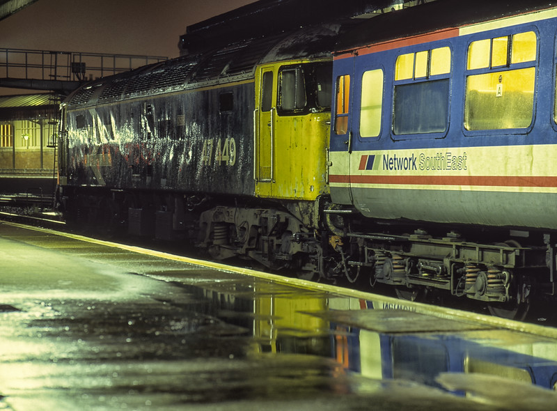 """47449 """"Oribi"""" at Salisbury with 1O44, the 19:40 Exeter St Davids - Basingstoke, <br /> on 13th August 1992. Scanned Transparency."""
