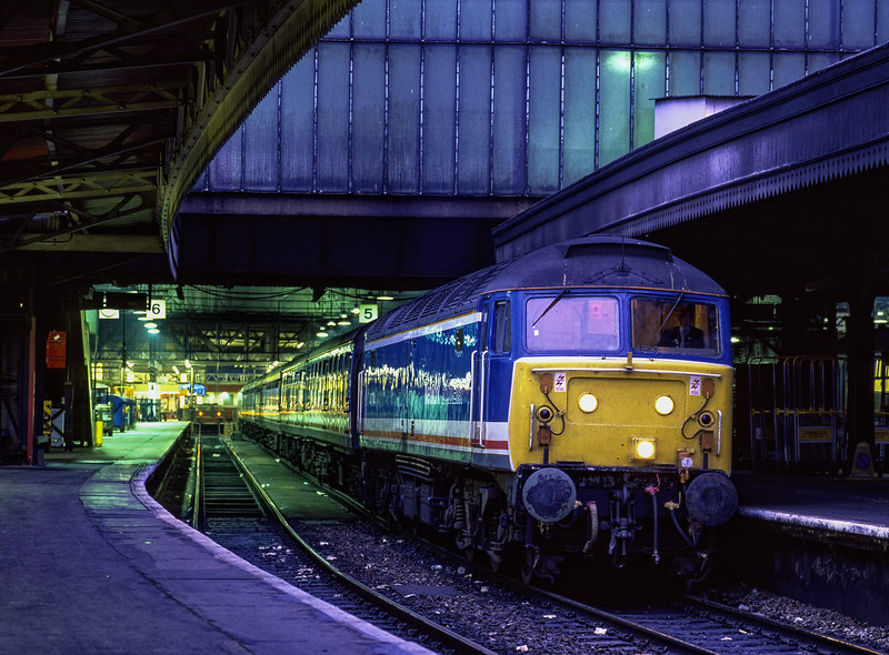 47714 at Paddington with the 21:20 service to Oxford, on 8th June 1990. <br /> Scanned Transparency.