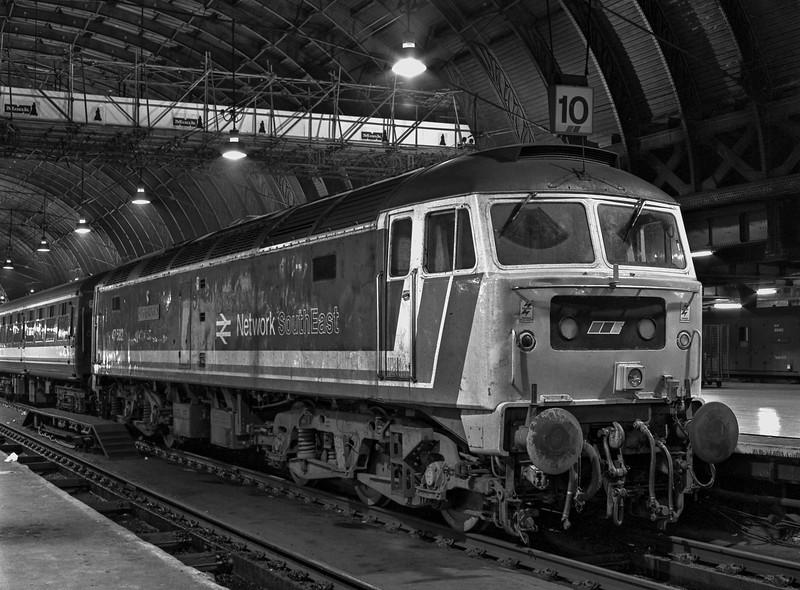 "47582 ""County of Norfolk"" at Paddington with the 14:30 Oxford - Paddington, <br /> on 31st December 1989. Scanned Negative."