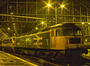 """On 2nd November 1991, principal West Coast sevices were diverted into St Pancras, <br /> due to major engineering work at Wembley. 87026 with DVT 82109 had arrived with the <br /> 15:10 Liverpool Lime Street - St Pancras. 47460 """"Triton"""" was preparing to take the train out as ECS. Scanned Transparency."""