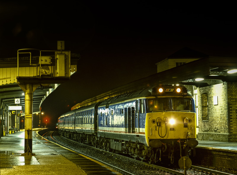 """50050 """"Fearless"""" at Didcot Parkway with the 17:32 Paddington - Oxford, <br /> on 5th January 1989. Scanned Transparency."""