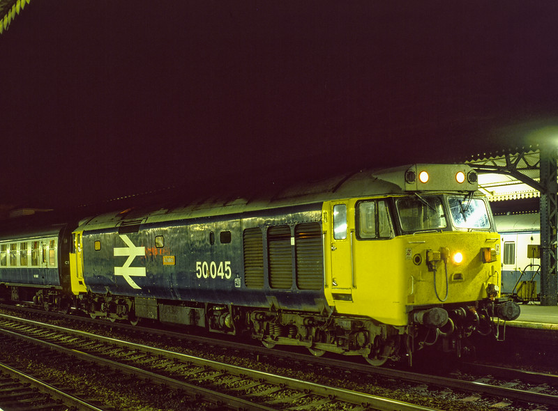 """50045 """"Achilles"""" at Reading with 1B74,  the 23:57 Paddington - Penzance, on 2nd July 1983. Scanned Transparency."""