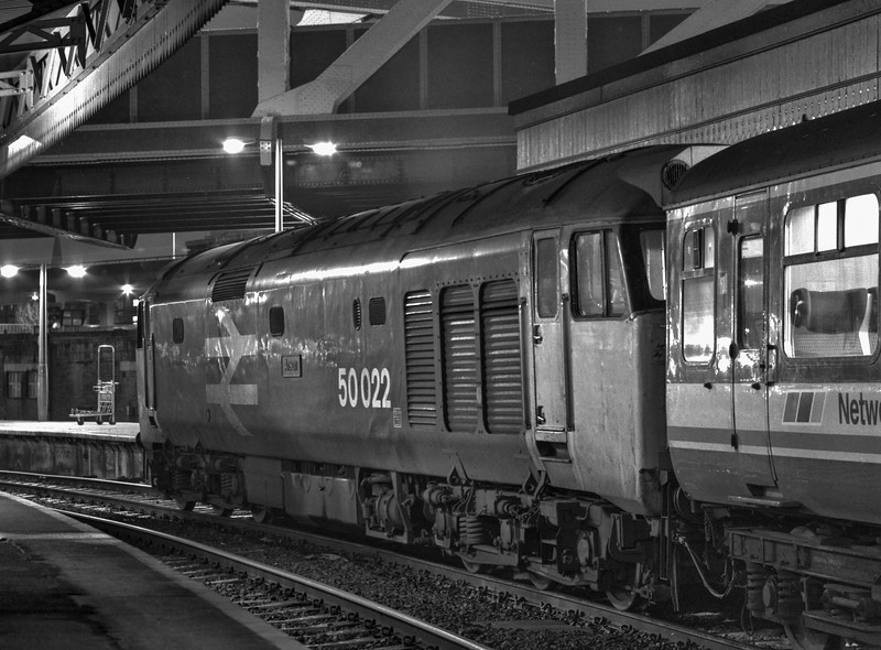 """50022 """"Anson"""" at Paddington with the 17:05 to Oxford, on 2nd January 1988. <br /> Scanned Negative."""