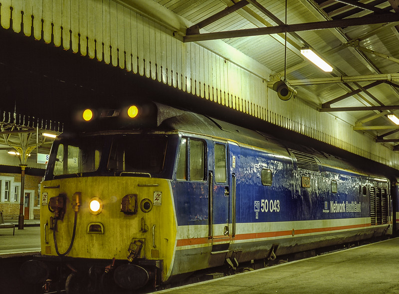 """50043 """"Eagle"""" at Salisbury after arrival with 1L23, the 18:40 Waterloo - Salisbury, <br /> on 9th February 1990. Scanned Transparency."""