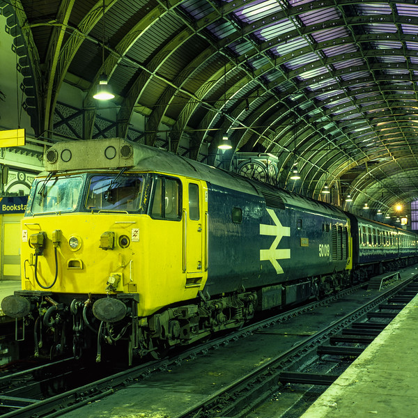 """50019 """"Ramillies"""" on the blocks at Paddington, on 1st December 1984. <br /> Scanned Transparency."""
