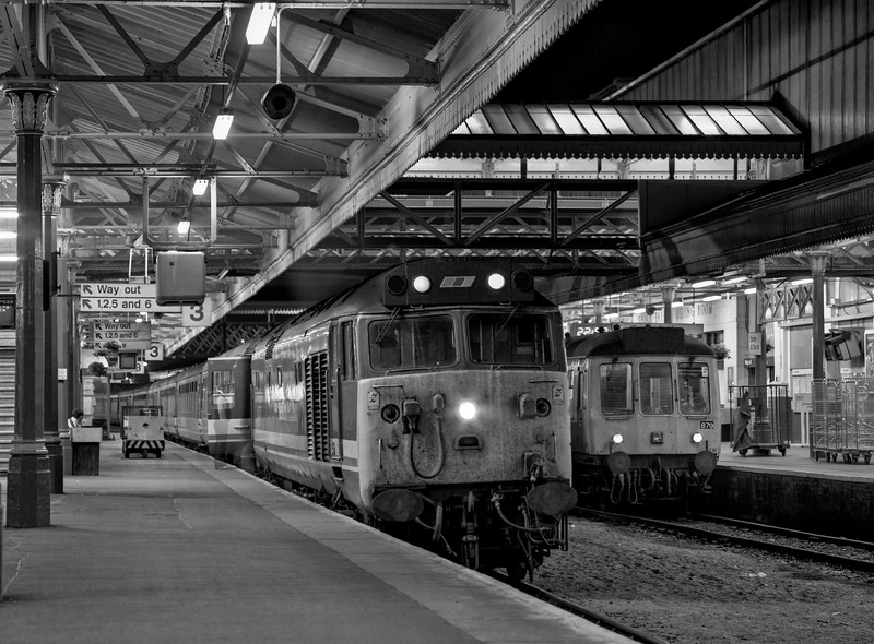 """50028 """"Tiger"""" at Exeter St Davids with 5V21, the 23:10 Exeter St Davids - Laira, <br /> on 11th September 1990. This was the ECS from 1V19, the 19:15 from Waterloo. <br /> Scanned Negative."""