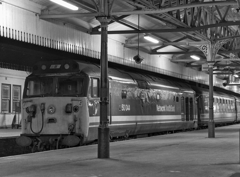 """50044 """"Exeter"""" at Salisbury after arrival with the 16:40 from Waterloo, on 9th February 1990. It then worked 5T07, the 18:50 Salisbury - Eastleigh T&RSMD for overnight servicing. Scanned Negative."""